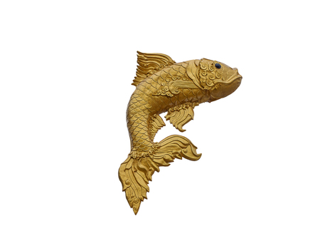 The golden fish of statue , isolated on white background.  (clipping path) Stock Photo