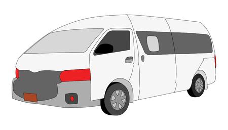 Mini Van Vehicle isolated on white  background, vector illustration.