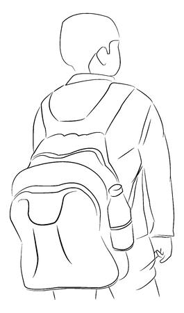 어깨 가방, 벡터 일러스트와 함께 여행자입니다.