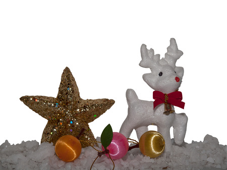 Merry Christmas , reindeer on winter snowing background.   (with free space for text)