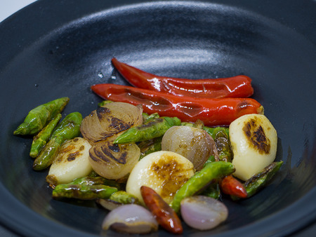 Garlic, chili, onion, Fresh Ingredients for Cooking Southeast Asian.