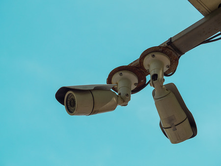 outdoor security cctv camera , Sky background.