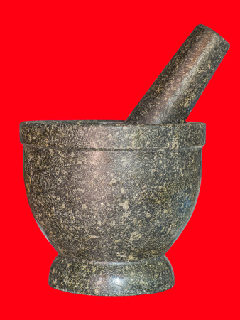 Stone mortar and pestle , Thai cooking tool.