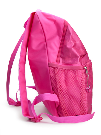 Comfortable school backpack for girls pink color , isolated on white background.  (clipping path)