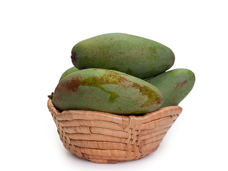 fresh green mango , healthy food , isolated on white background. Stock Photo