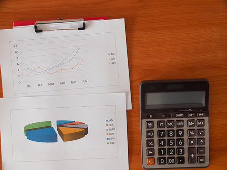 Financial charts and graphs , calculator on the table . business concept sign, symbol, idea. (with free space for text) Stock Photo