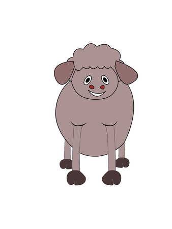 Vector illustration, Cartoon lamb. 向量圖像