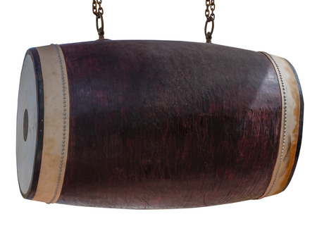 Traditional drum isolated on white background.