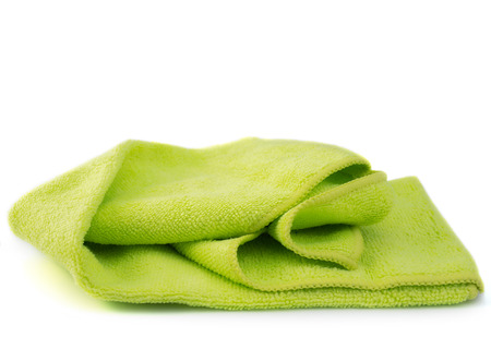 Microfiber Cleaning Cloth ,on white background. (with free space for text)