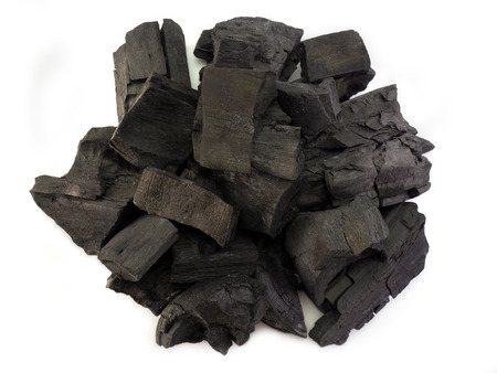 (Top view image) Natural wood charcoal isolated on white background.
