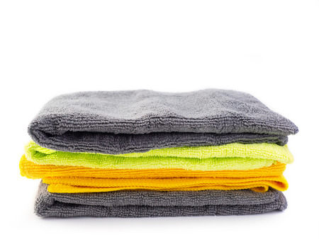 Multicolored Microfiber Cleaning Cloth ,on white background. Stock Photo
