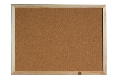 panneau de liège brun dans un cadre isolé sur fond blanc. (Ceci a un chemin de détourage)