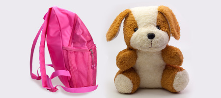 school backpack for girls and dog doll on white background. Stock Photo