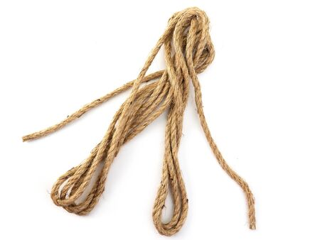 (Close Up) brown rope on white background.