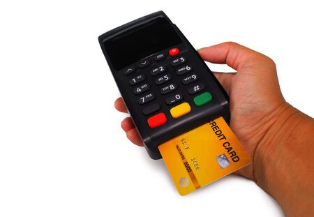 Credit card payment, buy and sell products , service on white background. 版權商用圖片