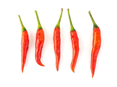 Red hot chilli on white background. (Good food for health)