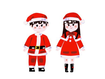 Two cute children in christmas elf costumes.(Christmas concept)