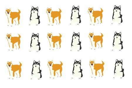 pattern with cartoon dog Can be used as a background, wallpaper.