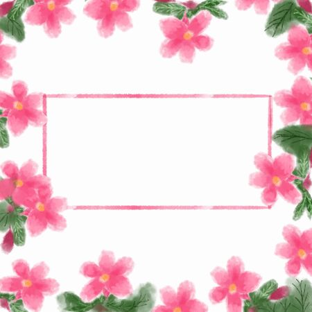 Frame of flowers on a white background. (with space for text) 版權商用圖片