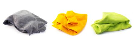 Collection of Microfiber Cleaning Cloth , on white background.