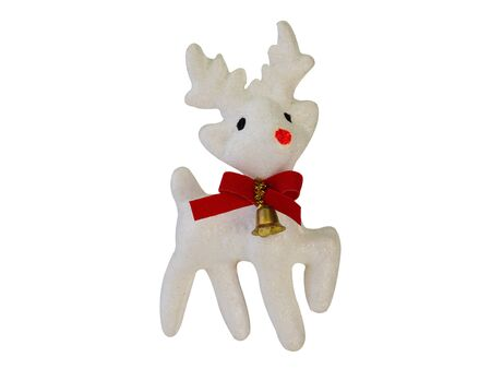 Deer Christmas isolated on white background. (This has clipping path) 版權商用圖片