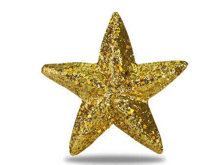 Gold Christmas Star isolated on white background. (This has clipping path) 版權商用圖片