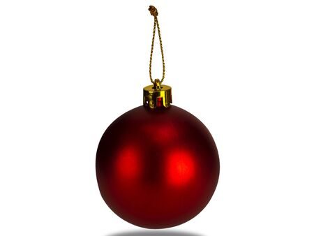 Red Christmas ball isolated on white background. (This has clipping path)