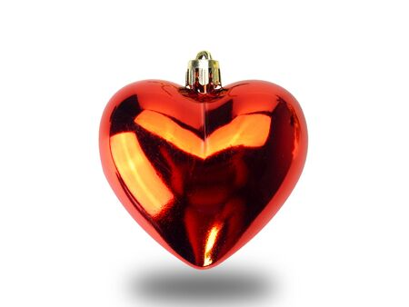Christmas heart shape ornament isolated on white background. (This has clipping path) 版權商用圖片