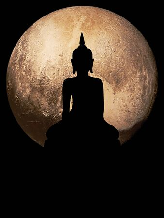 Silhouette public big black Buddha , Globe background. (Element of this image furnished by Nasa)