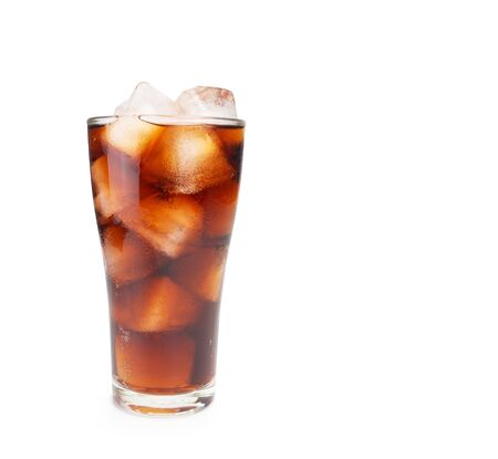 Soda with ice cubes isolated on white 写真素材