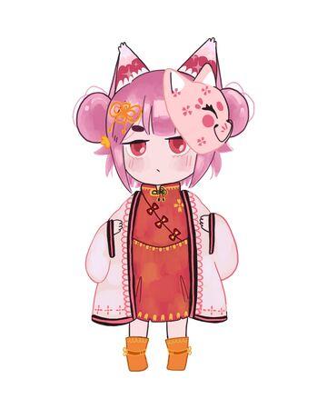 Cute Cartoon Girl with a fancy dress.