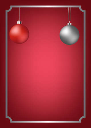 Beautiful Red  and Silver Christmas ball vector illustration.