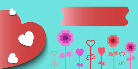 Heart and flowers on a blue background , Vector illustration.