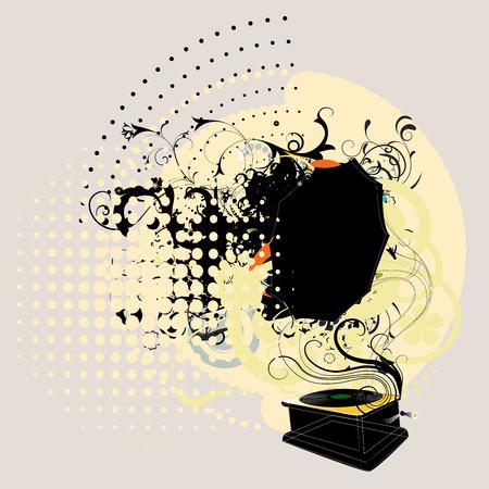 gramophone on grunge bckground Иллюстрация