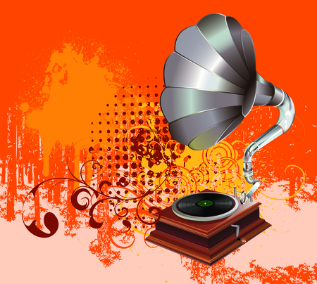 gramophone on grungy background Illustration