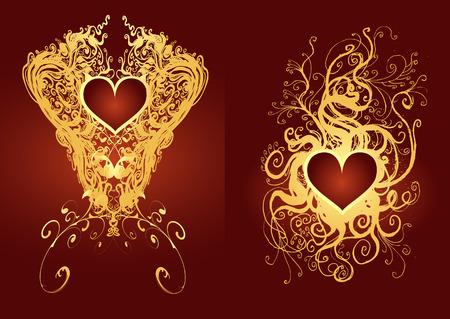heart emblems vector