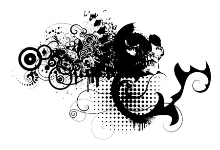 skull with grunge design elements Vector