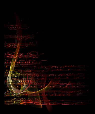 note card: music notes on fire vector graphic