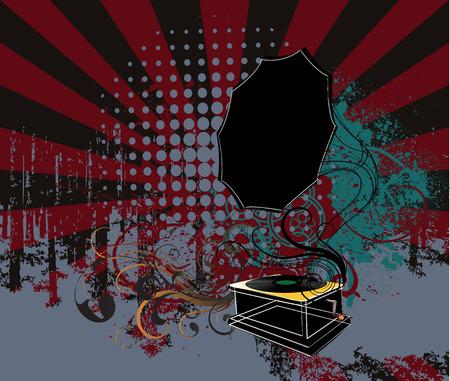 grunge gramophone Vector