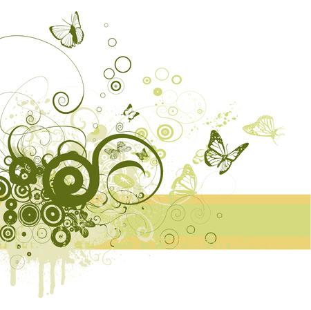 floral frame on grunge background vector Vector