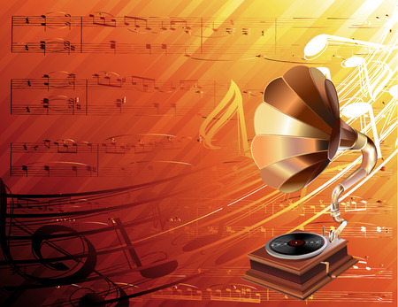 gramophone with musical background