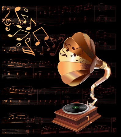 vintage gramophone illustration Vector