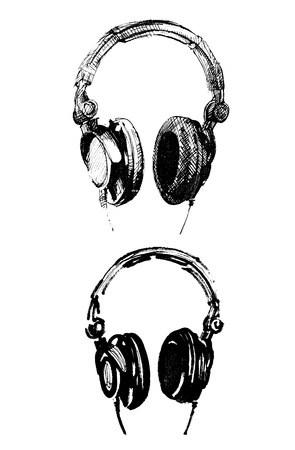 headphone handmade illustrations Vector
