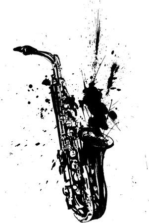 saxof�n: saxof�n ilustraci�n a mano