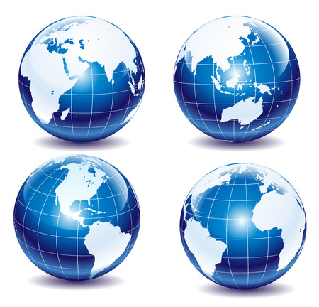 Set of glossy globes  Stock Vector - 5084522