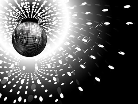 reflejo en espejo: ilustraci�n vectorial de un globo de discoteca y reflejos de luz