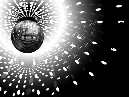 mirrored: vector illustration of disco globe and light reflections Illustration