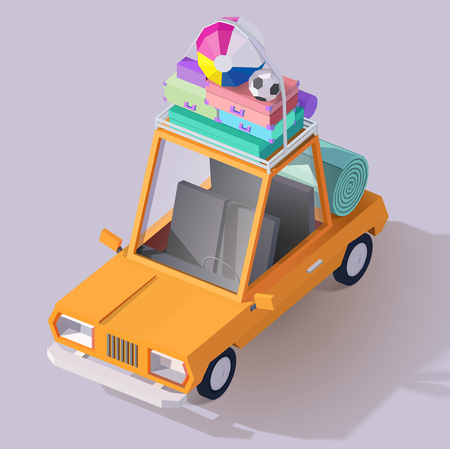 Low Poly Vector Summer Car Icon