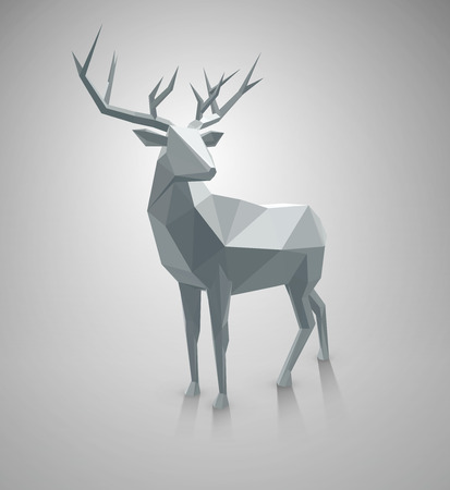 Polygonal illustration. Vector low poly deer, with space for text. Stag Christmas element for graphic designs. Illustration