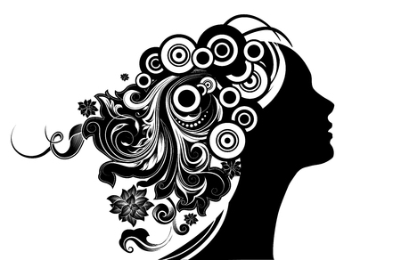 Girl With Floral Hair Illustration